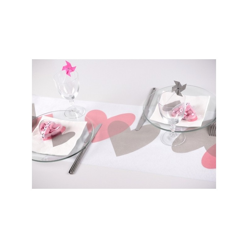 Chemin de table coeur rose coeur gris intiss blanc 5 m for Chemin de table gris