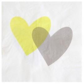 Serviettes de table coeur vert anis gris papier blanc les 20