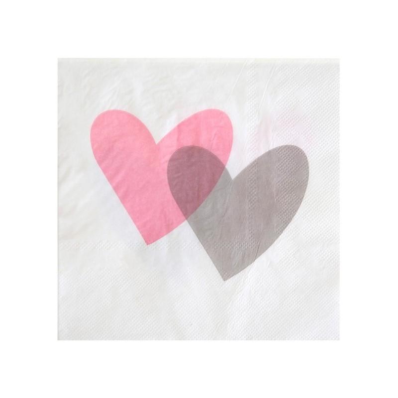 Serviette de table coeur rose gris papier blanc les 20 for Cuisine rose et gris