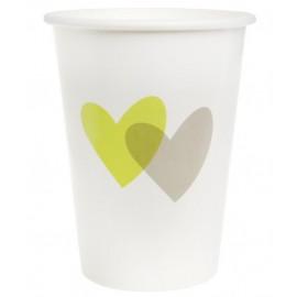 Gobelets coeur vert anis coeur gris carton blanc les 10