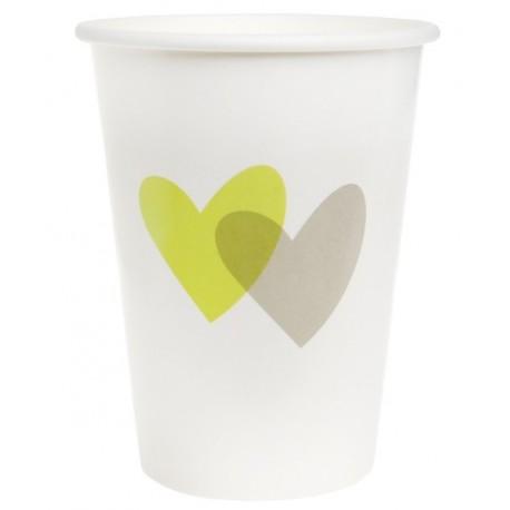 Gobelet coeur vert anis coeur gris carton blanc les 10