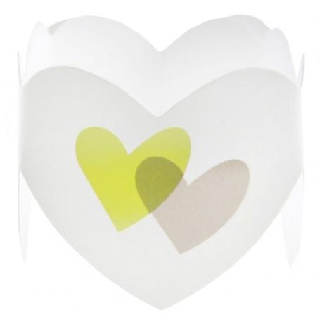 Rond de serviette coeur vert anis gris les 6