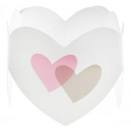 Ronds de serviette coeur rose gris les 6