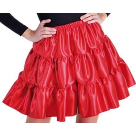 Déguisement jupe rouge à volants satin fille