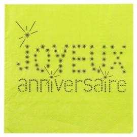 Serviettes de table Joyeux Anniversaire Vert Anis les 20