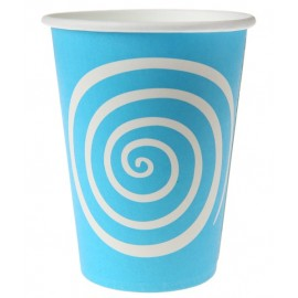 Gobelet carton spirale turquoise blanc les 10