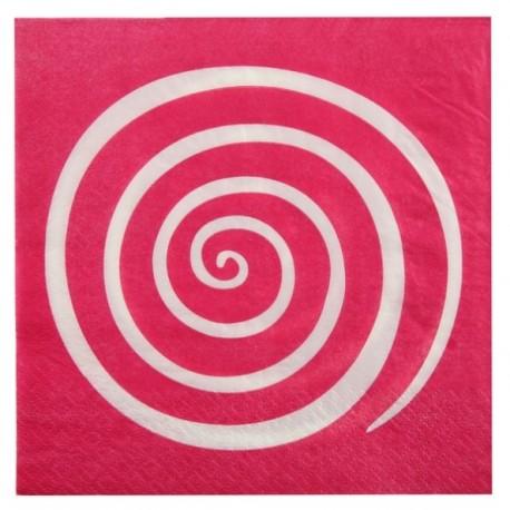 Serviettes de table spirale fuchsia blanc papier les 20