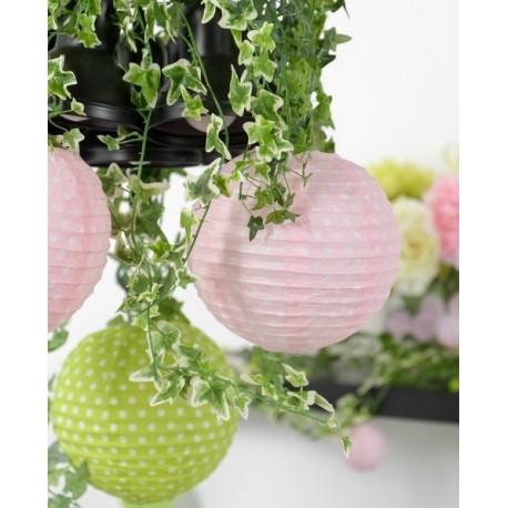 Lanternes boule papier rose à pois 20 cm les 2