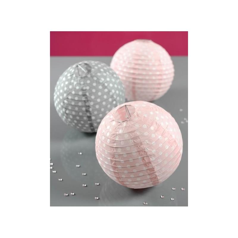 lanterne boule papier rose pois 20 cm les 2. Black Bedroom Furniture Sets. Home Design Ideas