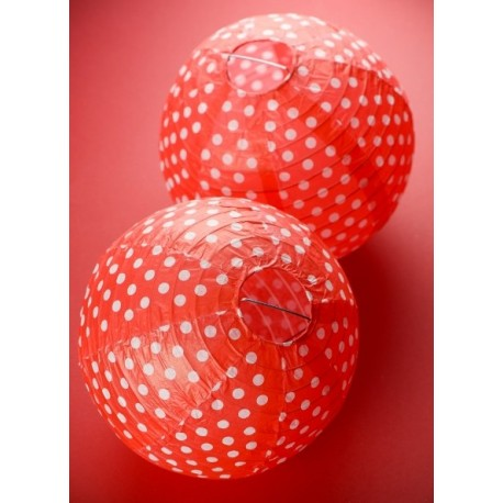 Lanterne boule papier rouge à pois 20 cm les 2