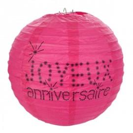 Lanternes boule papier joyeux anniversaire fuchsia 20 cm les 2