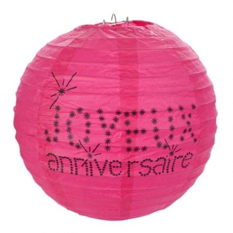 Lanterne boule papier joyeux anniversaire fuchsia 20 cm les 2