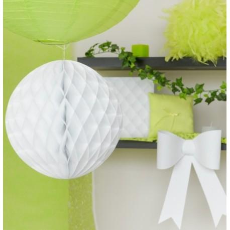 Boule papier alvéolé blanc 20 cm les 2