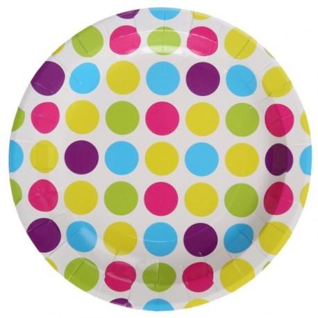 assiettes carton blanc pois multicolores 22 5 cm les 10. Black Bedroom Furniture Sets. Home Design Ideas