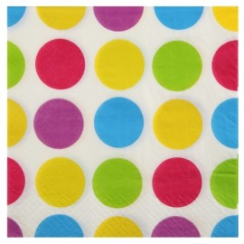 Serviettes de table à pois multicolores papier blanc les 10