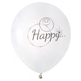 Ballons Happy blanc gris 23 cm les 8