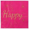 Serviettes de table Happy Fuchsia en papier les 20