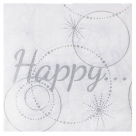 Serviettes de table Happy papier Blanc cassé les 20