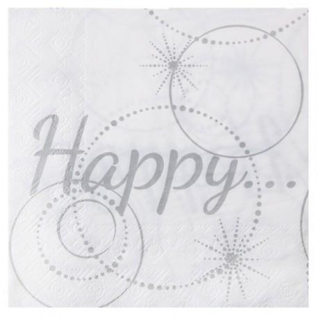 Serviette de table Happy papier Blanc cassé les 20