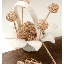 Panier en fleur sisal blanc naturel