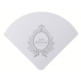 6 Eventails Just Married Blancs Cartes Mariage 23 cm