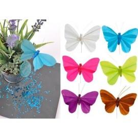 Papillons Plume Couleur Unie sur Tige les 6