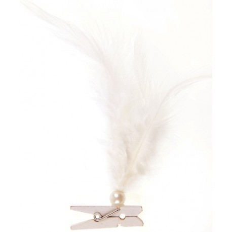 Plumes ivoire avec perle sur pince en bois les 6