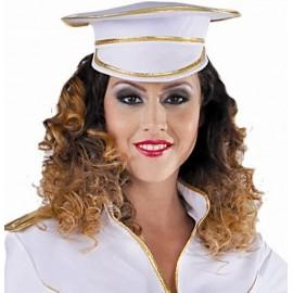 Casquette capitaine de marine blanche adulte deluxe
