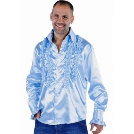 Déguisement chemise disco bleu ciel homme luxe