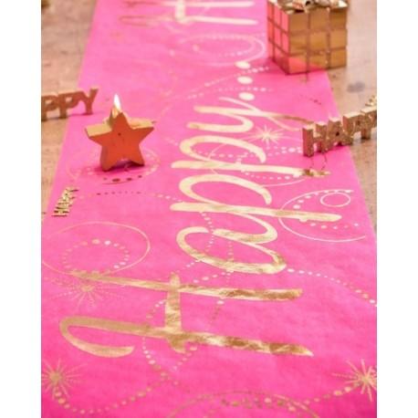 Chemin de table Happy fuchsia or intissé 5 M