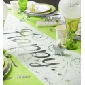 Chemin de table Happy blanc argent intissé 5 M