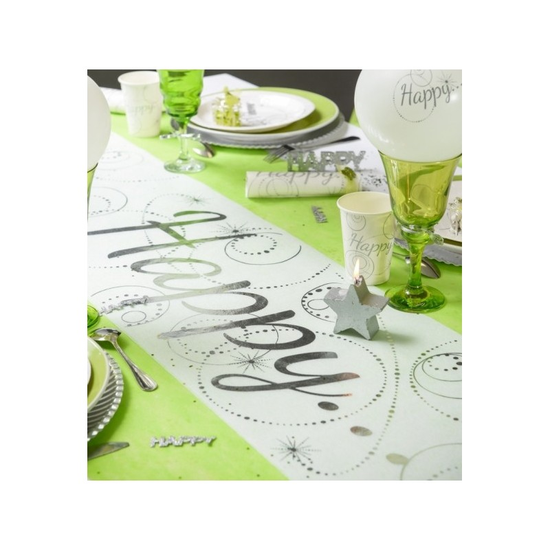 Chemin de table happy blanc argent intiss 5 m tissu non for Chemin de table plastique