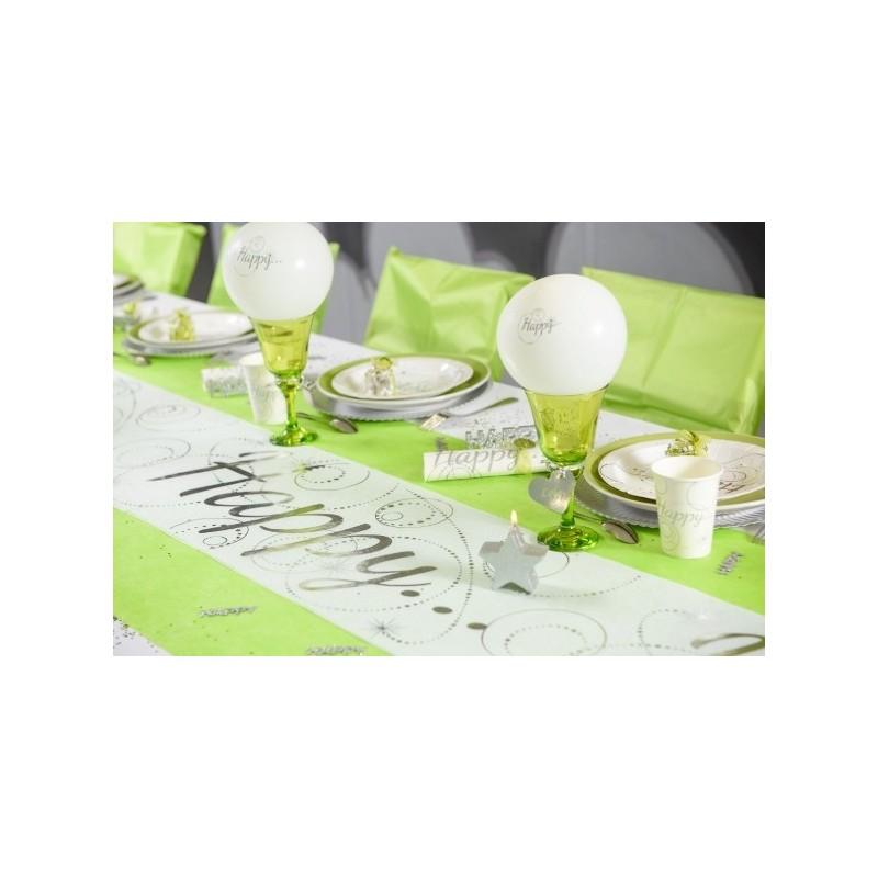 Chemin de table happy blanc argent intiss 5 m tissu non for Chemin de table blanc