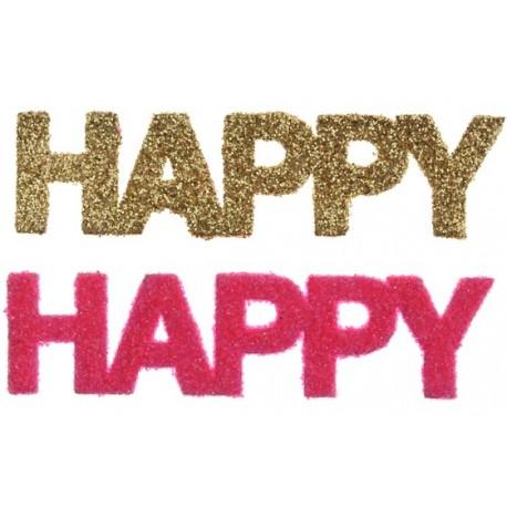 Confetti Happy fuchsia or pailleté 9 cm les 6