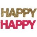 Confettis Happy fuchsia et or pailleté 9 cm les 6