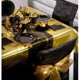 Nappe métallisée or en organdi 145 x 250 cm