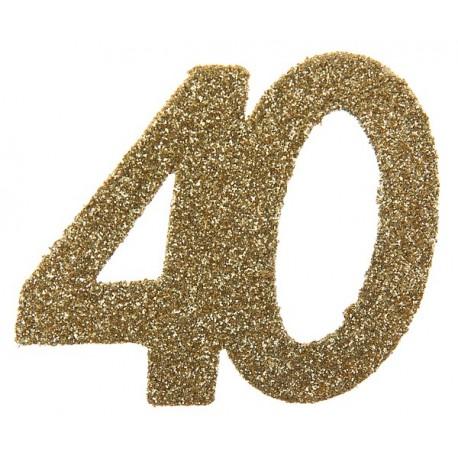 Confettis anniversaire 40 ans or pailleté les 6