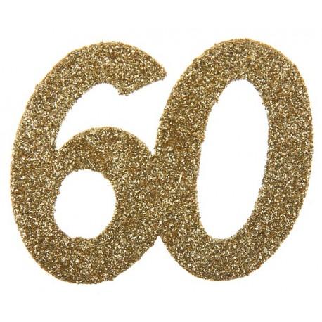 Confettis anniversaire 60 ans or pailleté les 6