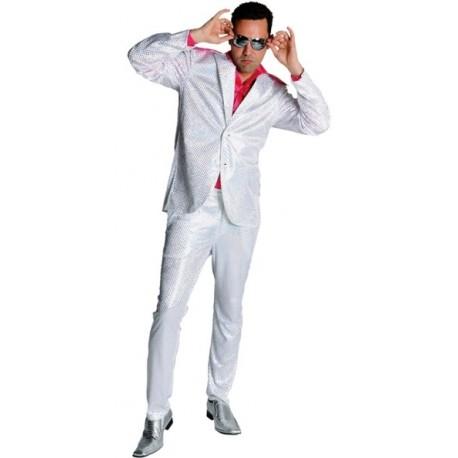 Déguisement disco blanc paillettes homme luxe