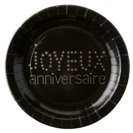 Assiette carton joyeux anniversaire noir argent 23 cm les 10