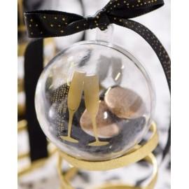 Boules transparentes champagne or 5 cm les 40