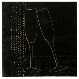 Serviettes de table champagne or papier noir x20