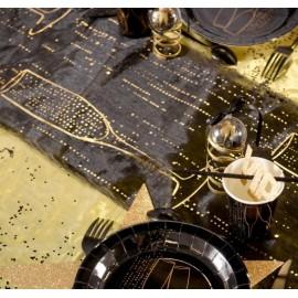Chemin de table champagne noir or organdi 5 M