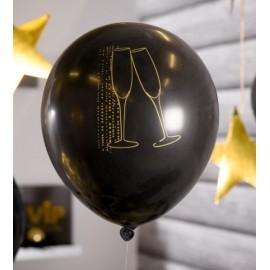 Ballons champagne noir or 23 cm les 8