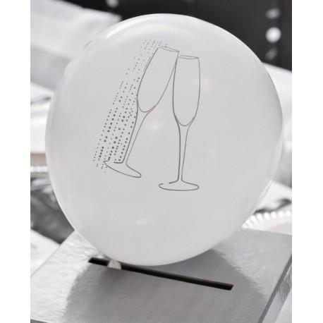 ballons champagne blanc argent 23 cm les 8