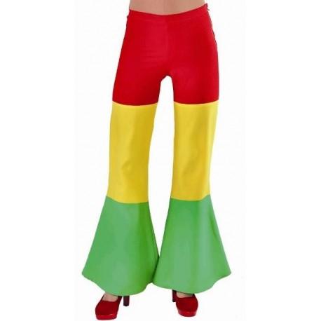 Déguisement pantalon hippie rouge jaune vert femme luxe