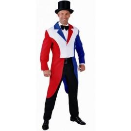 Déguisement Queue de Pie rouge-blanc-bleu homme luxe