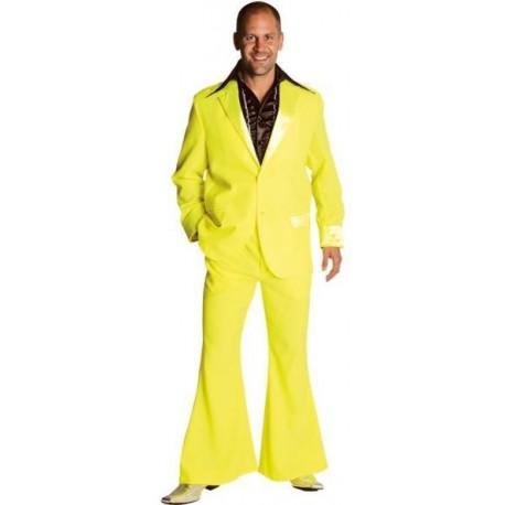 Déguisement disco fluo jaune homme 70's luxe