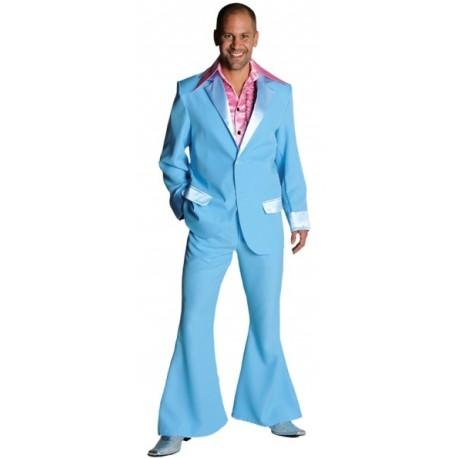 Déguisement disco bleu ciel homme 70's luxe