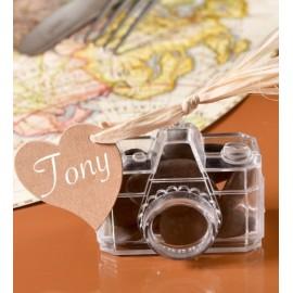 Boîte à dragées appareil photo plexi transparent 6 cm les 4